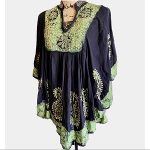 NWOT- Boho Embroidered Black Bat Wing Top/ Tunic
